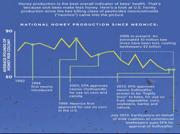 Honungsskördar i USA sedan Neonicotinoider introducerades
