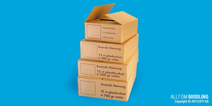 Kartonger - Honungsburkar - Honungsförpackingar - Biredskap